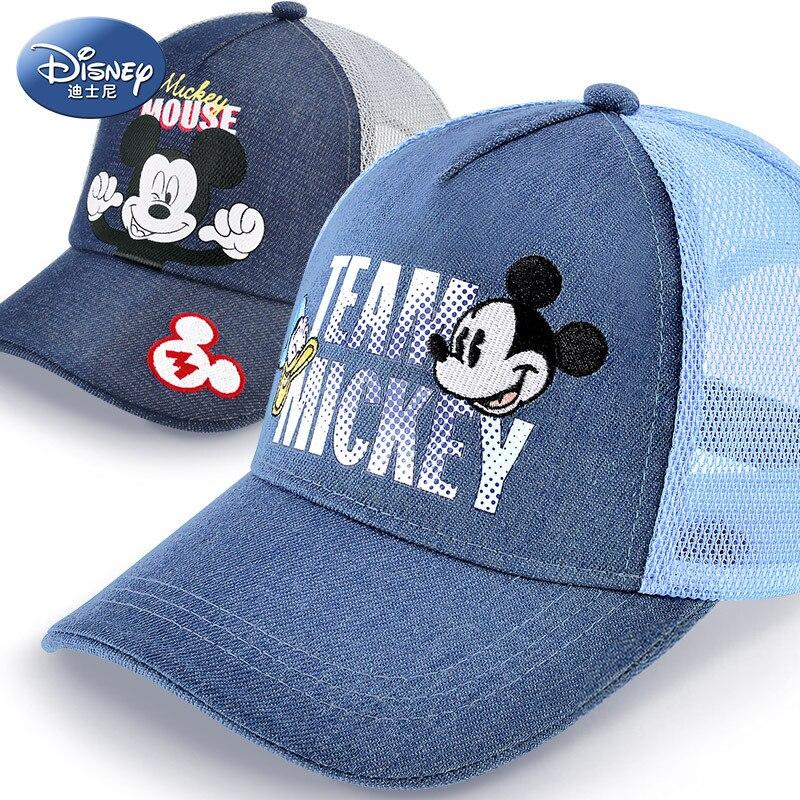 New Disney Boy Bucket Hat Child Mickey Baseball Cap Summer Pure Cotton Sun Hat Children Breathable Mesh Comfortable Adjustable