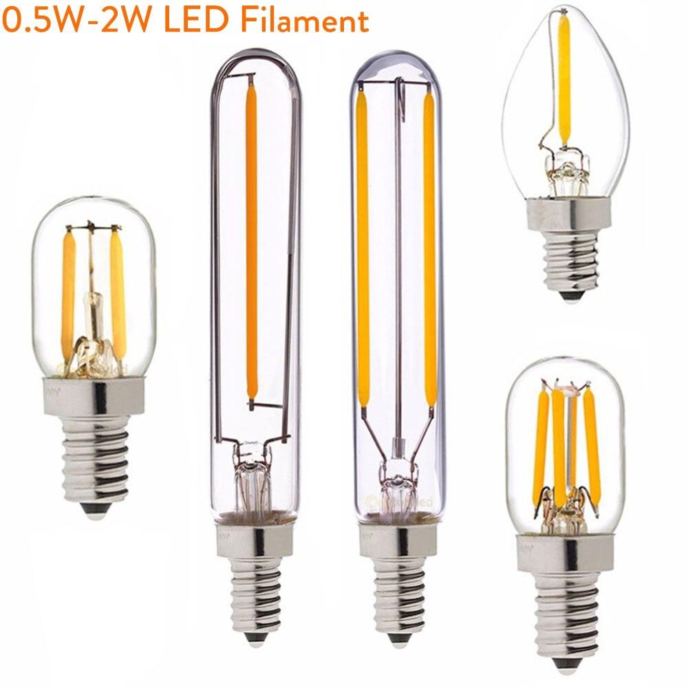 Dimmable T20 C7 E12 110V Led Bulb 0.5W 1W 2W Led Bulb E14 220V Retro Mini LED Lamp Light Edison Refrigerator 240V 130V