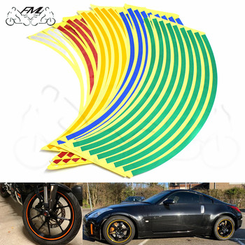 Car motorcycle Tire Rim Stickers 17-19 Reflective Wheel Tyre Sticker Automobile Decors For Yamaha FZ6 FZ8 FZ6R XJ6 MT07 MT09 image