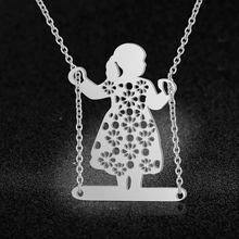 100% Real Stainless Steel 70cm Large Swinging Girl Long Necklace Special Gift Italy Design Personality Jewelry Amazing Design(China)