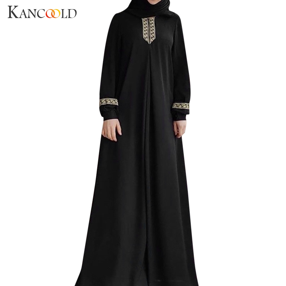 KANCOOLD Maxi Dress Kaftan Muslim Clothes Print Abaya Jilbab Plus-Size Casual Women title=
