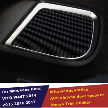 UBLUEE Interior For Mercedes-Benz Vito W447 2014 - 2018 Side Car Door Stereo Speaker Audio Sound Cover Trim ABS Matte Style