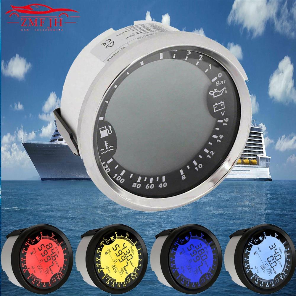 12V 24V Selling 6 in 1 Multi-functional Gauge Meter GPS Speedometer Tachometer Hour Water Temp Fuel Level Oil Pressure Voltmeter