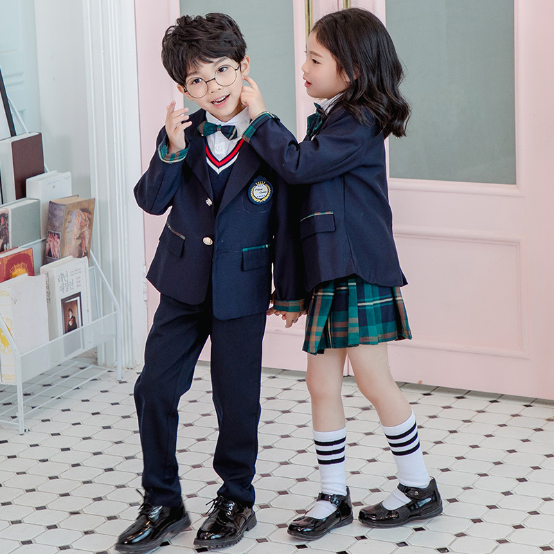 Clearance Spring Sale Kindergarten Suit British Style Children Suit Green Plaid Skirt Young STUDENT'S School Uniform