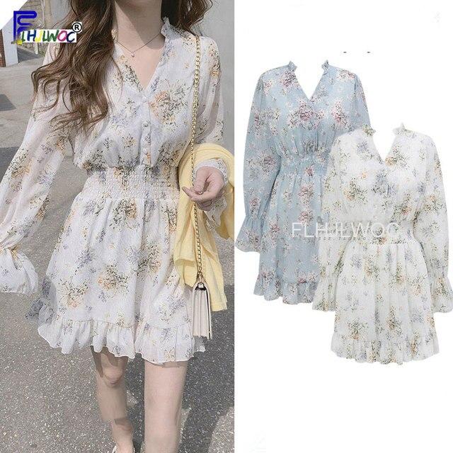 Cute Mini Dresses Party Date Wear Woman Long Sleeve Korea Japan Ruffled Sweet Girls Little Floral Chiffon Dress 8503