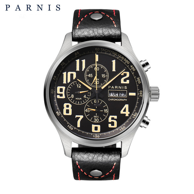 Parnis 43mm Quartz Watch Analogue Chronograph Military Pilot Watch Diving Watch <font><b>100m</b></font> Waterproof Wristwatch Mens image