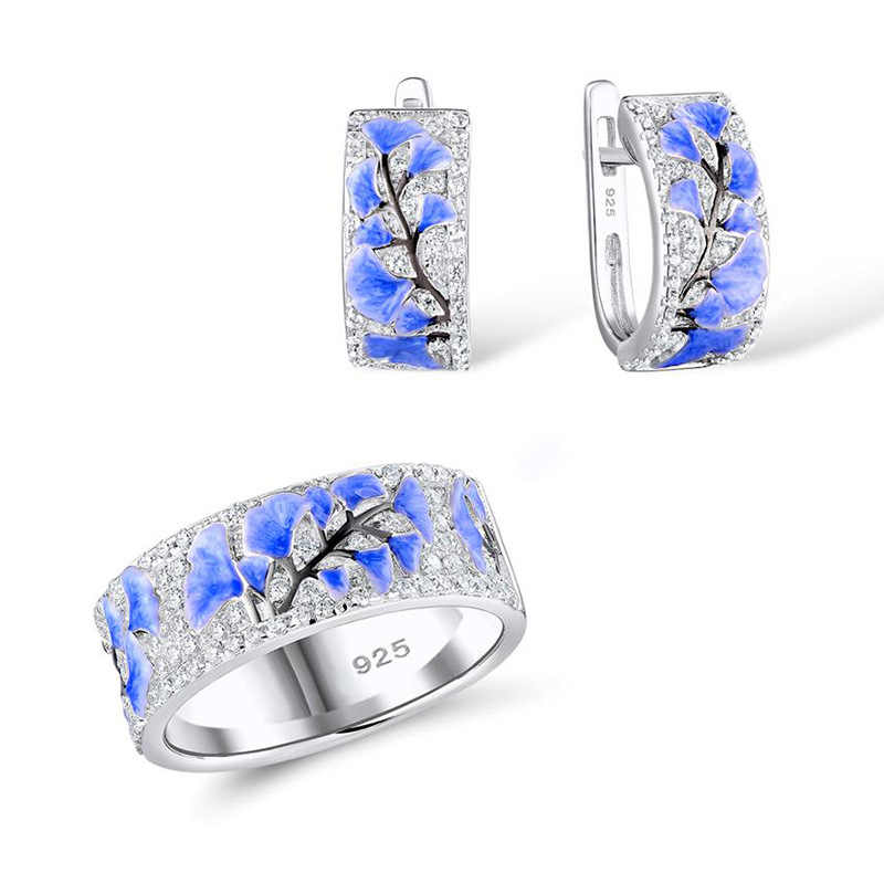 Women Jewelry Set Elegant Blue Flower Floral Elegant Silver Ring Hoop Earrings Set Autumn Style Zircon Casual Party Jewely
