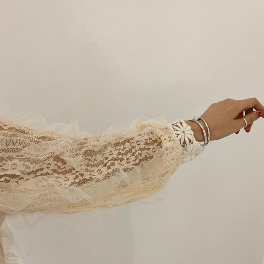 H05017660b8214556831f9ddd1d1e5002D - Spring / Autumn Stand Collar Long Sleeves Crochet Flower Lace Blouse
