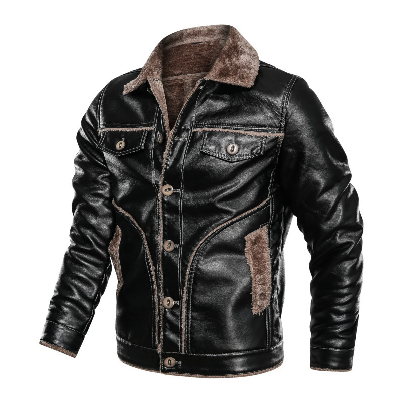 Winter Large Size Fur Coat Men's Fold-down Collar Plus Velvet Men Casual PU Leather