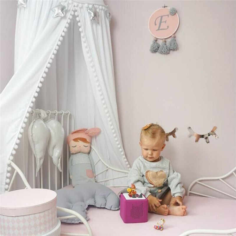 Cotton Baby Room Decoration Balls Mosquito Net Kids Bed Curtain Canopy Round Crib Netting Tent Photography Props Baldachin