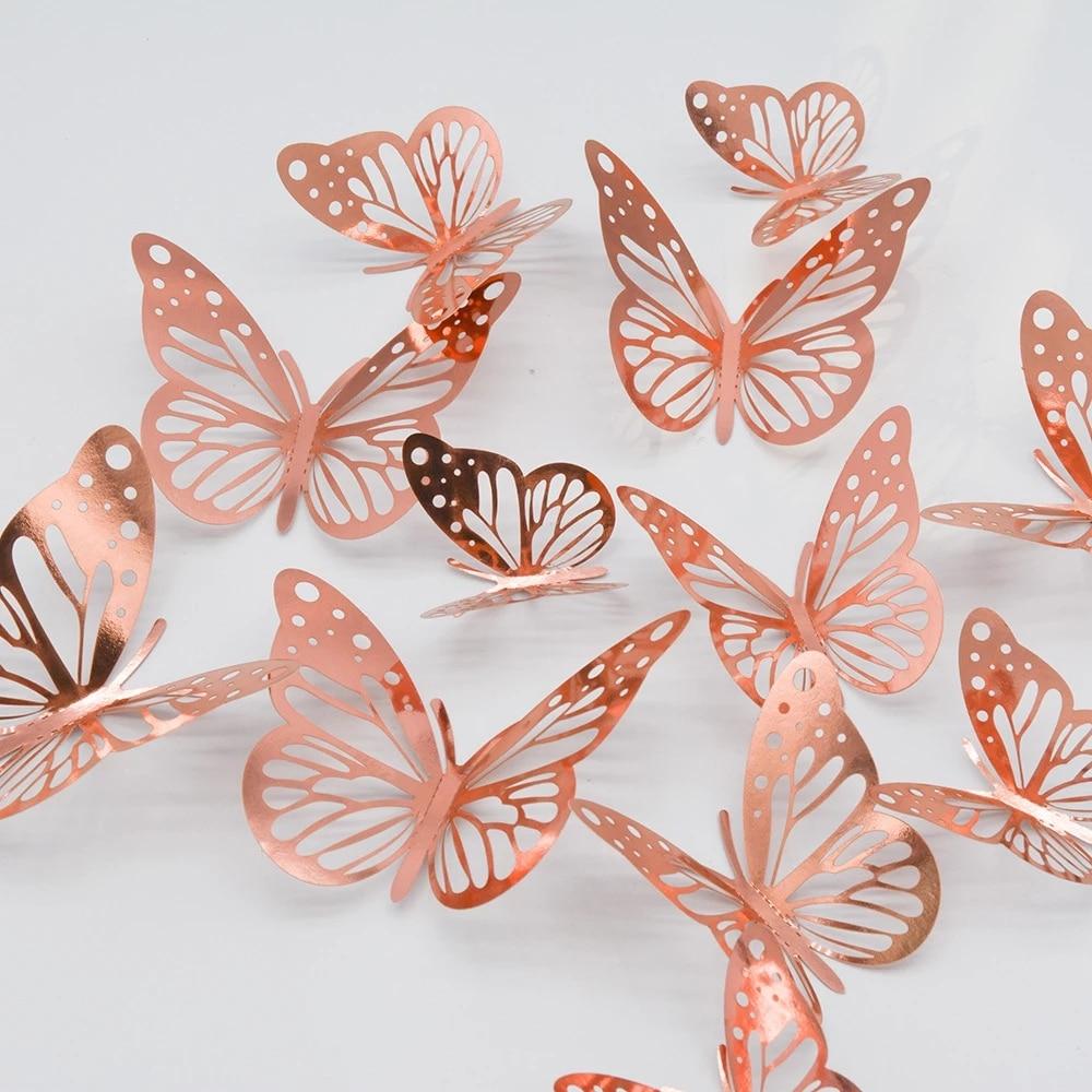 12 шт./компл. золотые, серебряные, полые настенный стикер бабочка 3D бабочки спальня гостиная украшения дома наклейки Свадебный декор