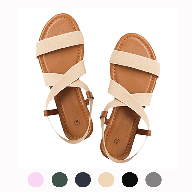 MUQGEW Rubber Sandals Shoes Elastic-Band Low-Heel Ankle Women Cross-Strap Peep-Toe NEW