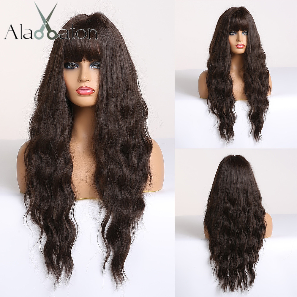 ALAN EATON Long Dark Brown Womens Wigs With Bangs Heat Resistant Synthetic Wavy Wigs For Women Afro High Temperature Fiber