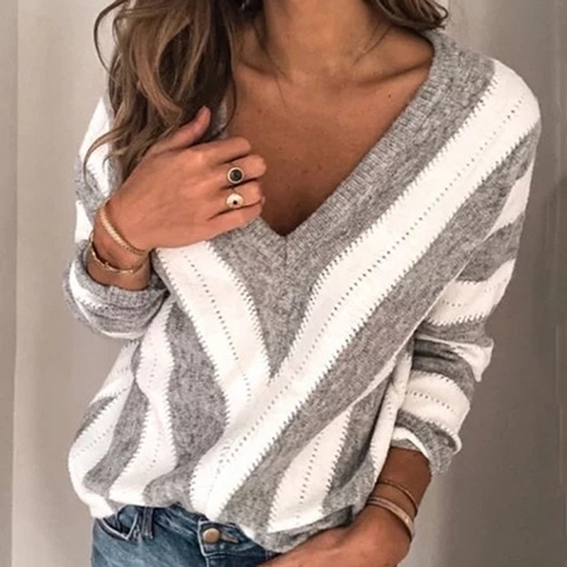 Winter Autumn Long Sleeve Jumper Winter Fashion Striped Knitted Pullover Women Casual Sexy V Neck Sweater Femme Knitwear Pull