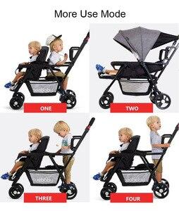 Image 2 - Seebaby ikizler bebek arabası çift çocuk 4 tekerlekli bebek arabası arka koltuk ayakta kurulu ile T12 avrupa tarzı