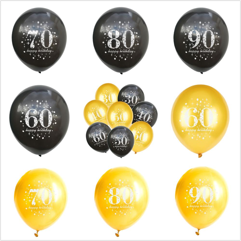 Ballon numérique en Latex pour fête danniversaire, 5 pièces/lot, numéro décriture 16 18 30 40 50 60 70 80 90 ans