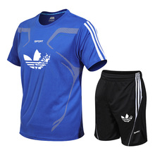 New brand running clothes mens youth fashion suit GYM fitness tops + breathable trousers