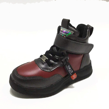 bessky/Black and red boots for boys and girls,fashion pu texture boots for children, new matching shoes, comfortable baby boots