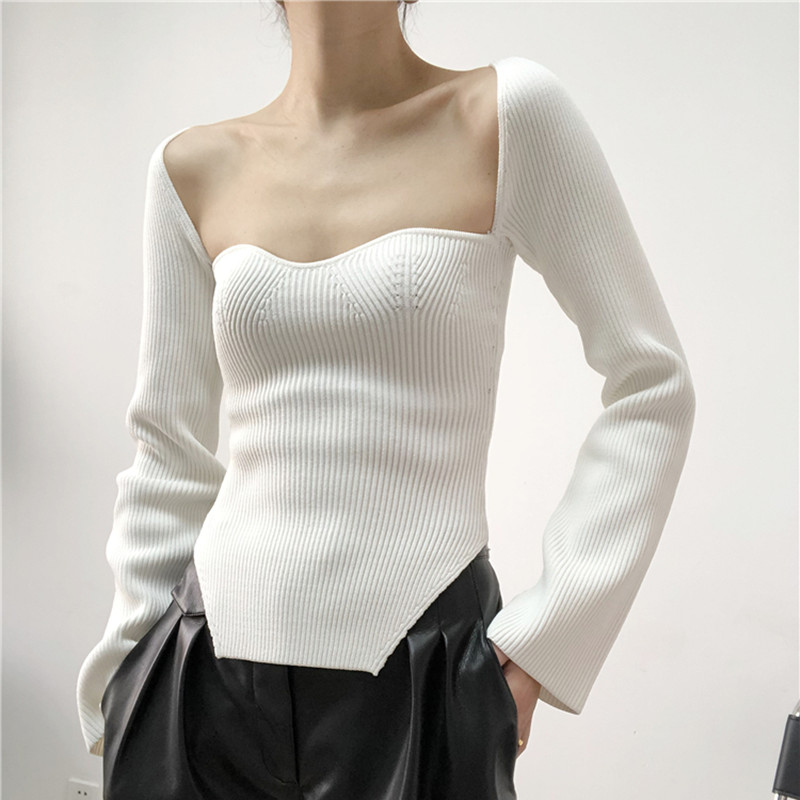 Black White Solid Color Sweater Women's Knit Pull Long Sleeve Slim Sexy Arc Hem Side Split Tops