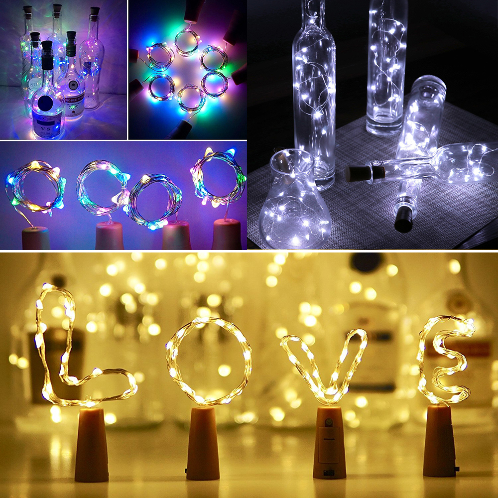 1/3/6PCS 10 15 20 LEDs Wine Bottles String Lights Copper Wire LED Starry Fairy Light For Party Christmas Wedding Party Light D30