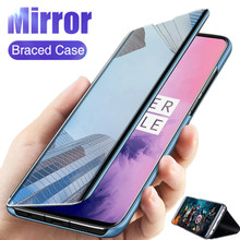 For OPPO Realme 6S 6 Pro 6 6i Mirror Flip Case Smart View Luxury Plating Leather Flip Stand Protective Cover for Realme6 smart mirror flip case for oppo realme 5 pro luxury clear view pu leather cover realme5 smart view case for oppo realme 5 pro