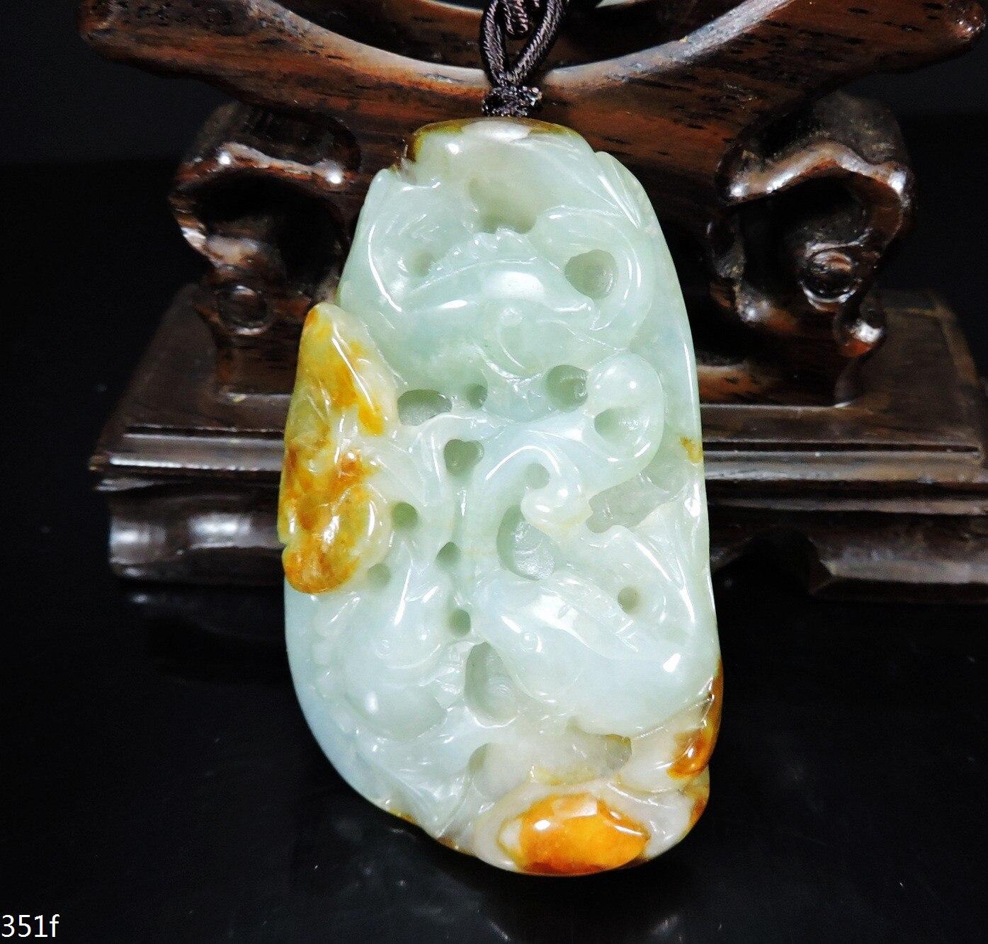 Zertifiziert Natürliche Jadeit anhänger Grade EINE Hand-geschnitzt Ruyi & fischteich Jade halskette Geschenk Keine jede behandlung 351f