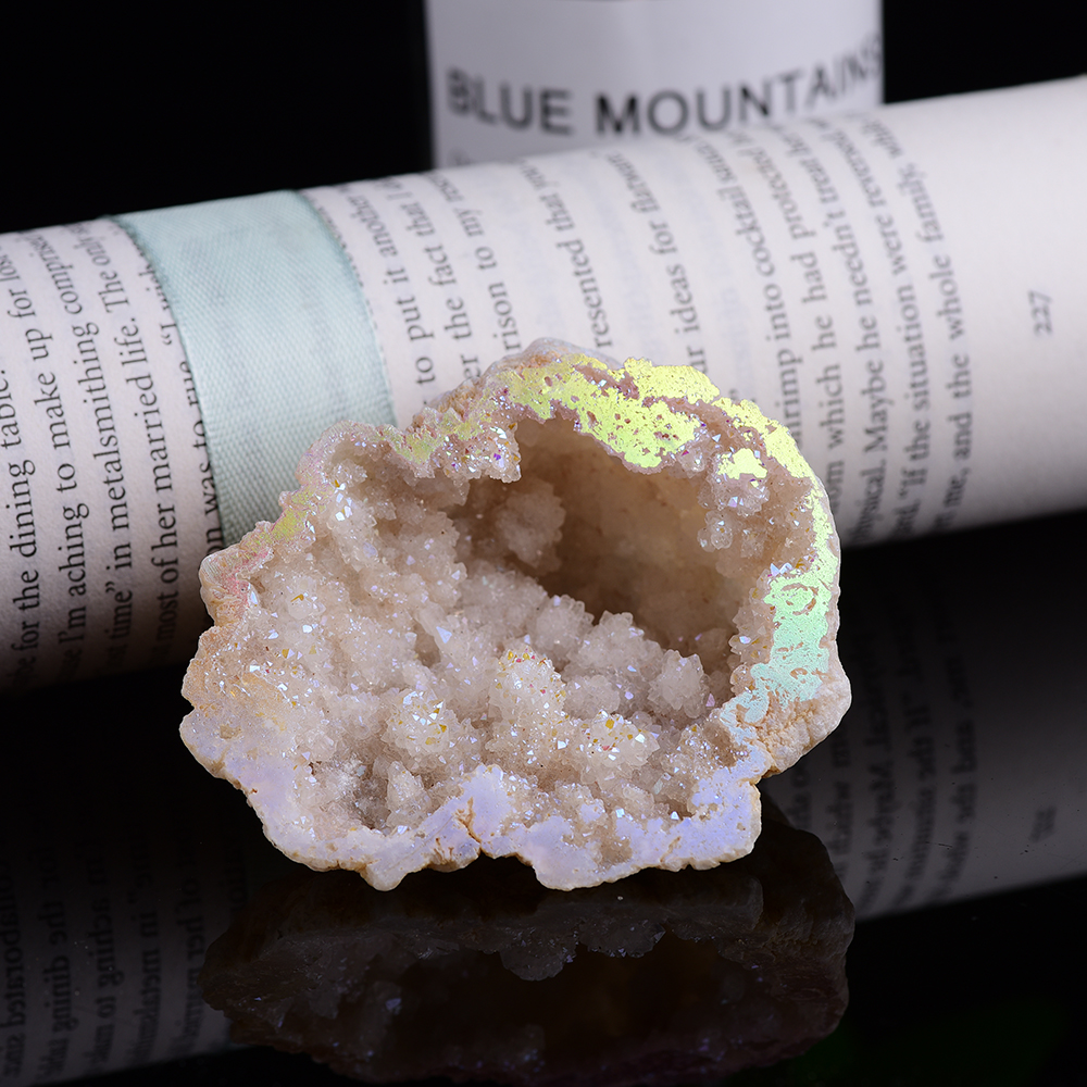 Natural galvaniza ágata cristal caverna original pedra de quartzo mineral reiki espécime cura casa decoração do tanque de peixes jardim