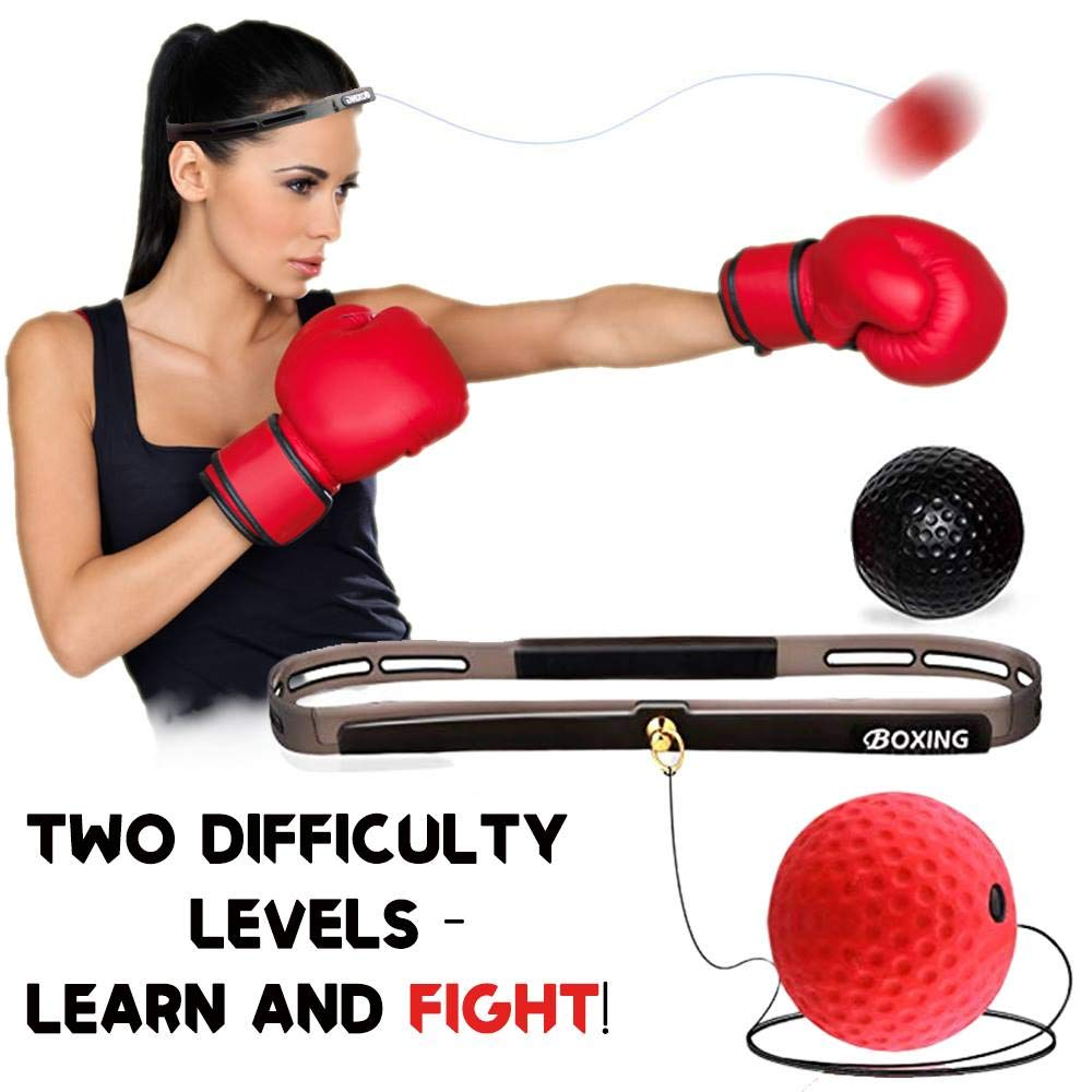 Boxing Reflex Ball On String Headband Set Punching Fight Speed Agility Reaction Balls Hand Eye Training Equipment For Kids Adult