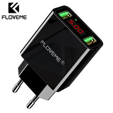 FLOVEME Dual Usb-lader Voor iPhone XR 7 LED Display Telefoon Lader EU Adapter Voor Samsung Xiaomi Huawei Telefoon accessoires(China)