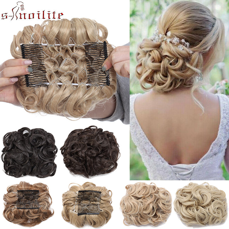 S-noilite Hair Bun Clip In Hair Extension 2 Plastic Comb Curly Hair Chignon Synthetic Hair Messy Chignon For Women Wedding