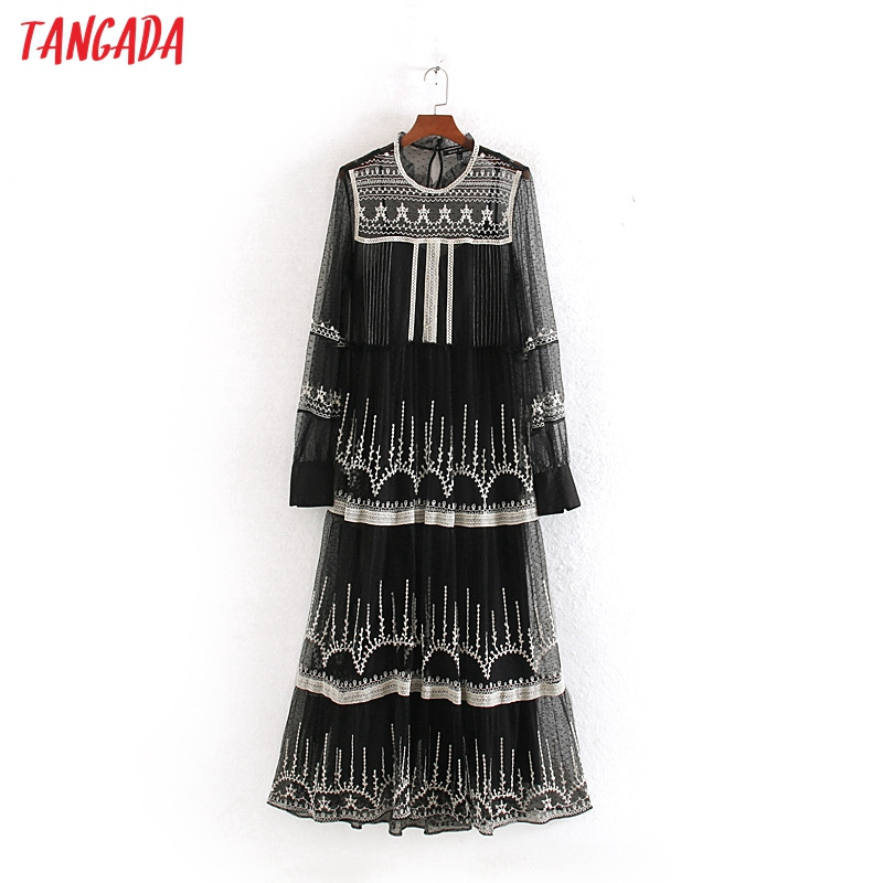 Tangada Women Elegant Mesh Embroidery Long Dress Long Sleeve Lady Black Party Maxi Dresses Vestido CE181