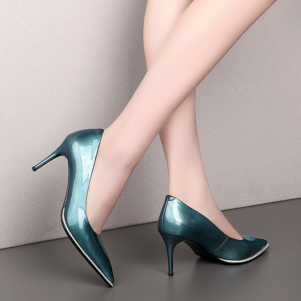 Fashion Mirror Green Female High Heels 7cm Pointed Stiletto Simple Wild Luxurious Genuine Leather Temperament Women's Shoes