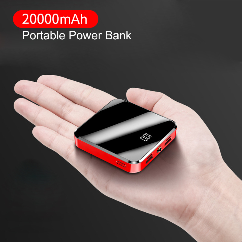 ROCK 20000mAh Power Bank Portable Charger Powerbank Mirror Screen Digital Disply External Battery Pack Charger For Xiaomi IPhone