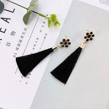 NJ Trendy Cool Black Long Tassel Dangle Earrings For Woman Flower Elegant Drop Earring Ladies Female Zinc Alloy Party Jewelry