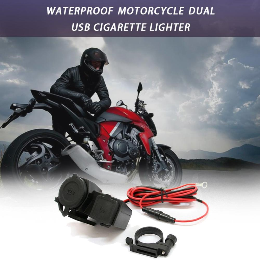 Waterproof Motorcycle Dual Usb Cigarette Lighter Mobile Phone Charger Dual Usb With Switch Car Charger
