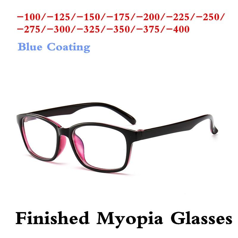 SPH -1.0 -1.5 -2.0 -2.5 -3.0 -3.5 -4.0 Classic Full Frame TR90 Finished Myopia Glasses Fashion Student ShortSight Eyewear