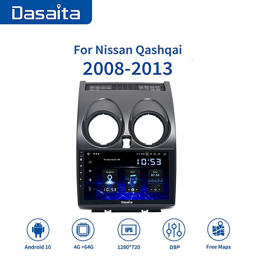 Dasaita 9 IPS Screen Car Multimedia Player Android 10.0 For Nissan Qashqai J10 2012 2013 2014 MP3 Bluetooth MAX10 1280*720 image