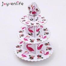 Flamingo suporte para festa de aniversário, suporte dobrável redondo 3 tier para bolo, decoração de festa de aniversário infantil, suporte para festa de casamento tropical