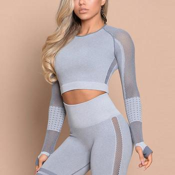 Women Fitness Crop Top Seamless Yoga T-Shirt Full Sleeves Thumb Hole  Running Fitness Workout Sexy Yoga Suit