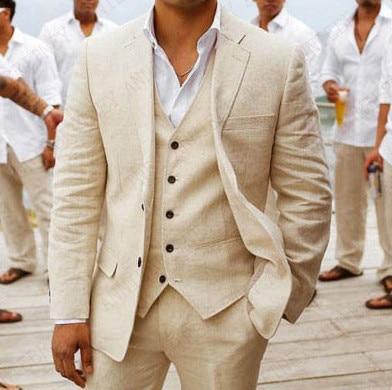 ANNIEBRITNEY Beige Linen Men Suits Wedding Suits Prom Party Groomsmen Custom Made Big Size Tuxedo Set Slim Fit Casual Best Man