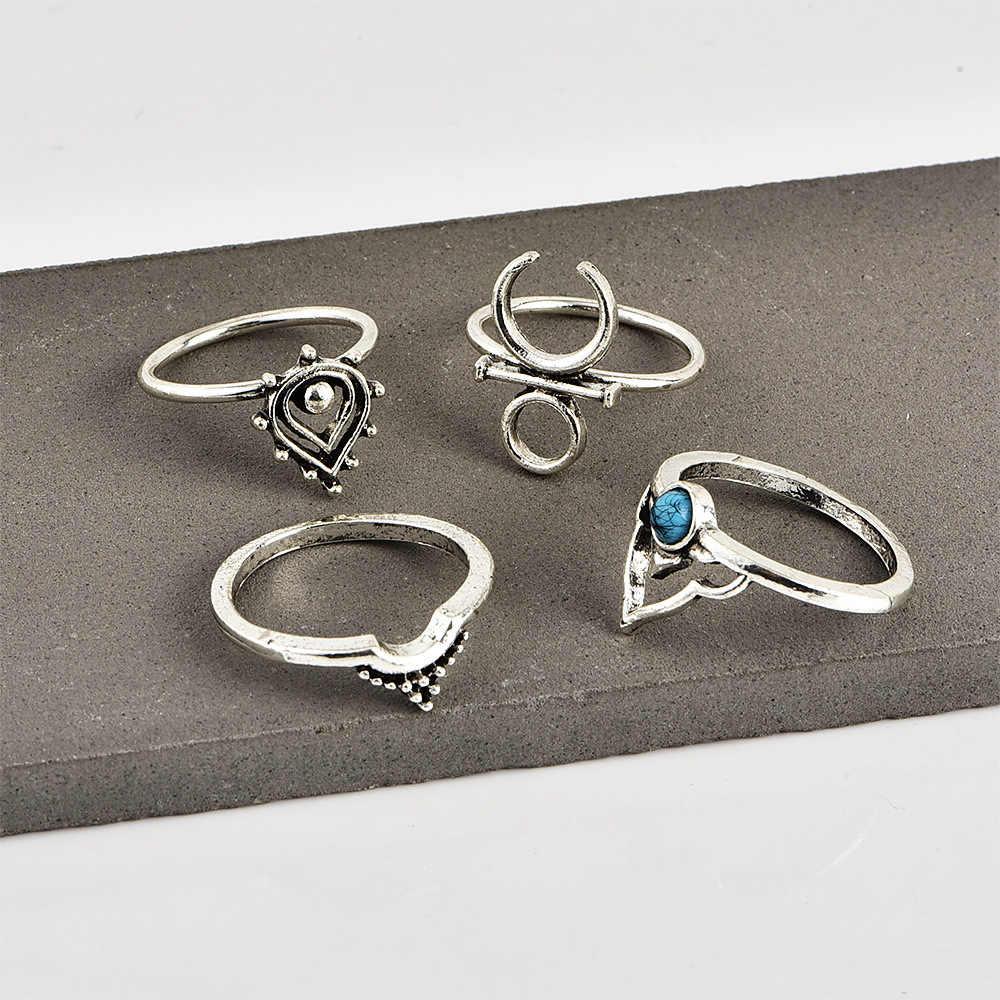 แหวนแฟชั่น Punk Retro โบฮีเมียนสไตล์โบราณแหวนเงินผู้หญิงเครื่องประดับชุดแหวนชุดแหวน