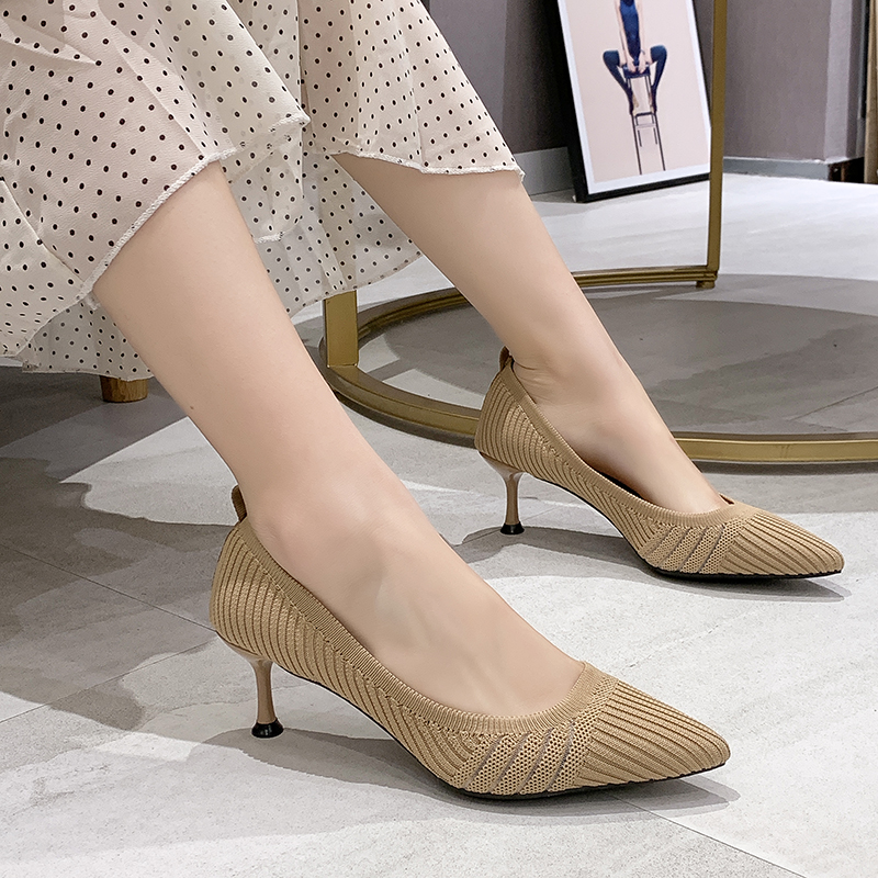 Stretch Fabric High Heel Shoes Women Elegant Knitted Pointed Toe Women Pumps Thin High Heel Office Ladies Shoes 6 Cm