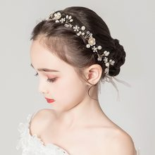 Girls Headbands Women Shiny Crystal Pearl Hairband Gold Color Branches Floral Headband Wedding Bride Tiara Crown Hair Jewelry(China)