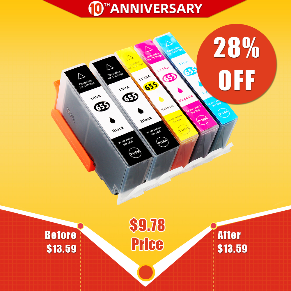 CMYK SUPPLIES 5x Ink Cartridge Replacement For  Hp 655 With Chip For Hp Deskjet 3525/4615/4625/5525/6520/6525 Printer