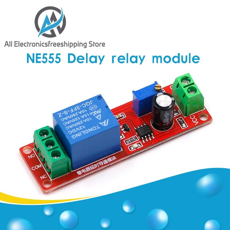 Переключатель таймера NE555, регулируемый модуль, релейный модуль с задержкой времени, защита реле задержки постоянного тока 12 В, 0 ~ 10 с