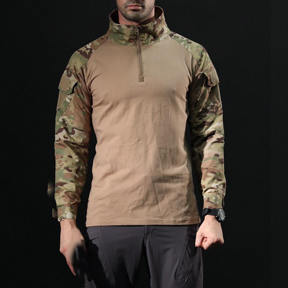 Men's Casual Blouse Tactical Military T Shirt Camouflage Long Sleeve Zipper Assault Frog Combat High Neck Shirt Clothing Tshirt