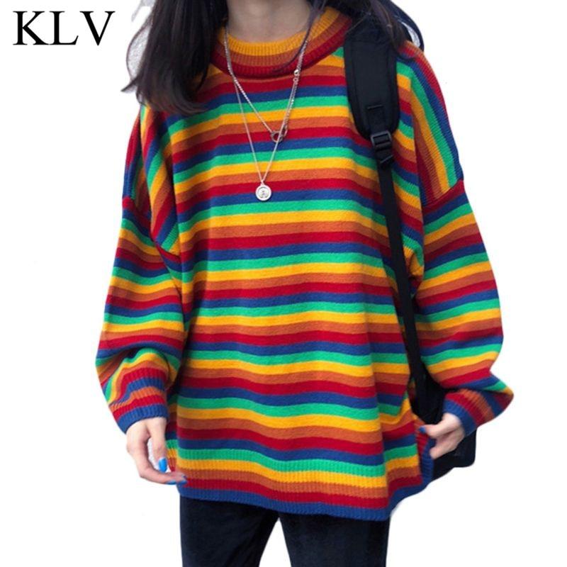 Women Teens Autumn Long Sleeve Knit Sweater Korean Harajuku Rainbow Stripes Patchwork Loose Jumper Hip Hop Pullover Tunic Tops