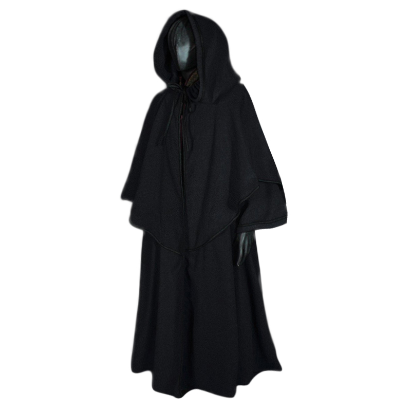 Men's Cloak Autumn Winter Cosplay Stage Costume Medieval Vintage Wizard Pastor Hooded Cloak Black Fashion Cloaks