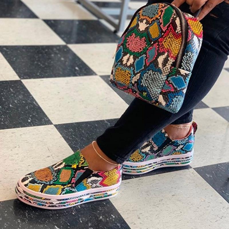Woman Snake Print Leather Women Sneakers Flat Slip On Casual Shoes Platform Ladies Fashion Female Comfor Plus Size Footwear