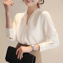 Women's Shirt Office Lady White Shirts Long Sleeve V-neck Blouse Elegant Women Solid Tops Blusas Mujer De Moda Chiffon Blouse